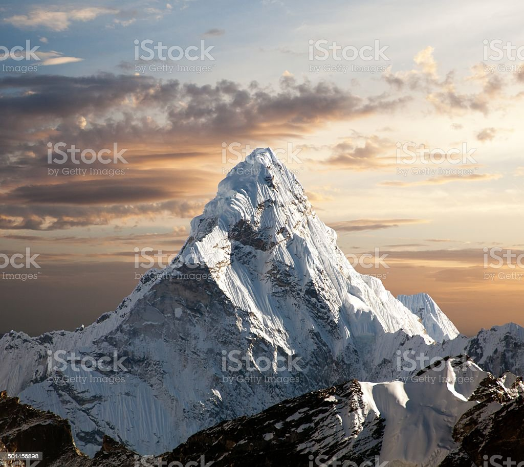 Ama Dablam on the way to Everest Base Camp stock photo