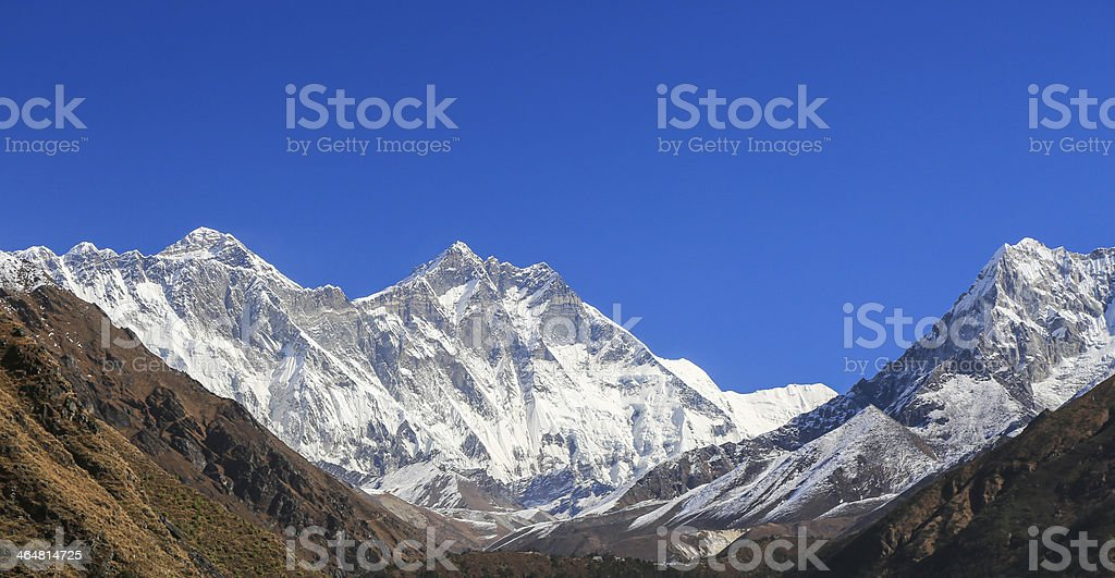 ama dablam peak  from nepal in everest  trek stock photo
