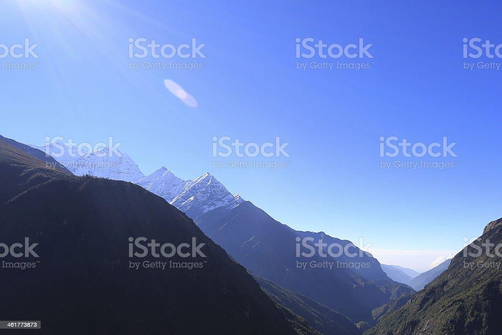 ama dablam peak in trekway  from nepal stock photo