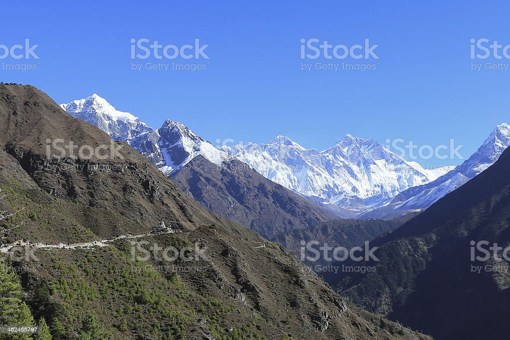 ama dablam peak in trekway  from nepal royalty-free stock photo