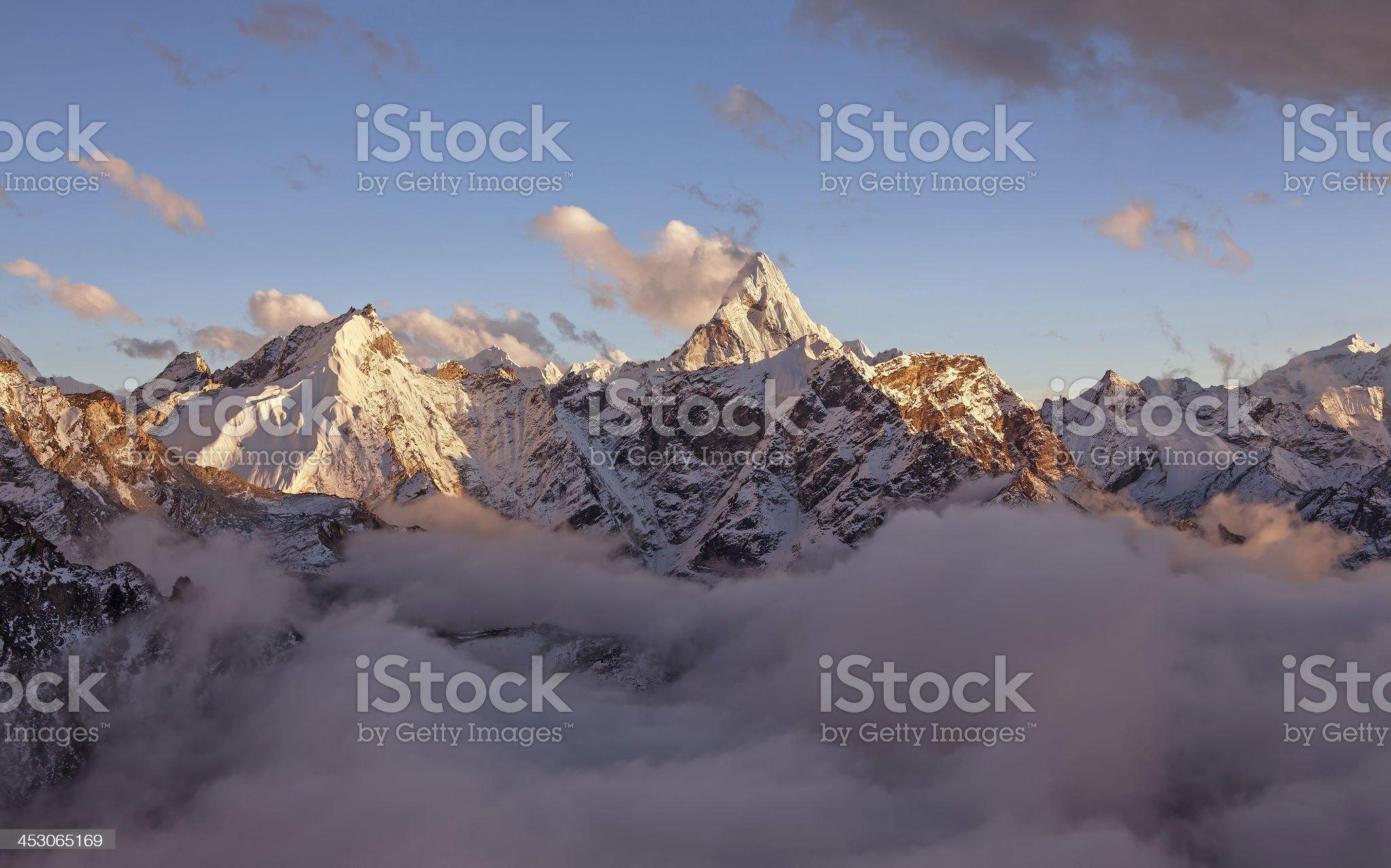 Ama Dablam Peak Sunset royalty-free stock photo