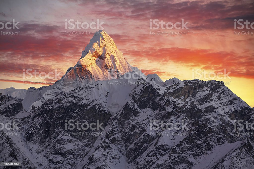 Ama Dablam Peak Sunset stock photo