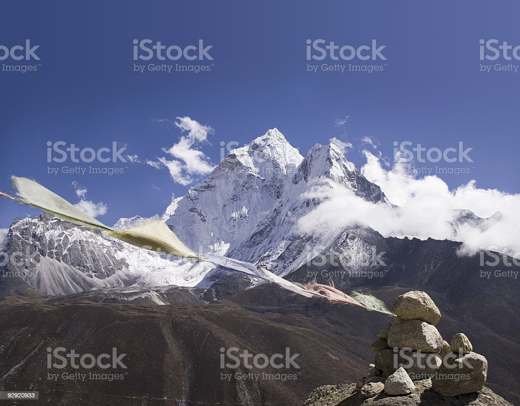 Ama Dablam Prayer Flags - Nepal royalty-free stock photo