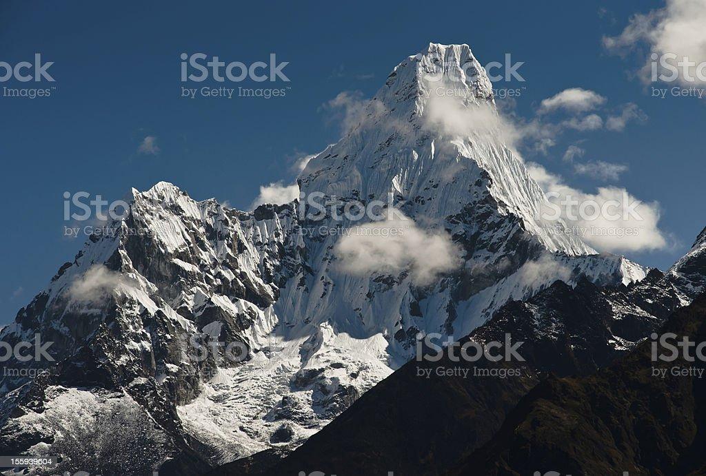 Ama Dablam summit in Himalayas stock photo