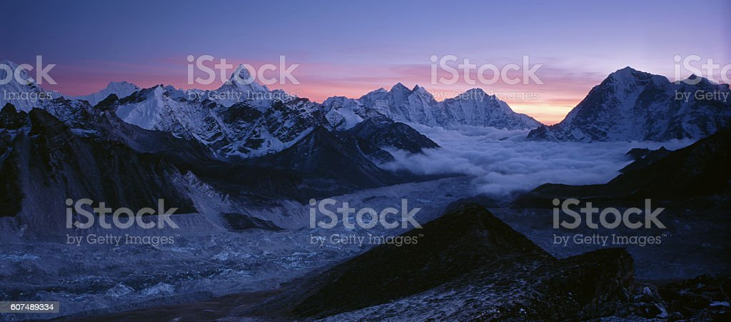 Ama-Dablam from Kalapatar. Sunset. stock photo