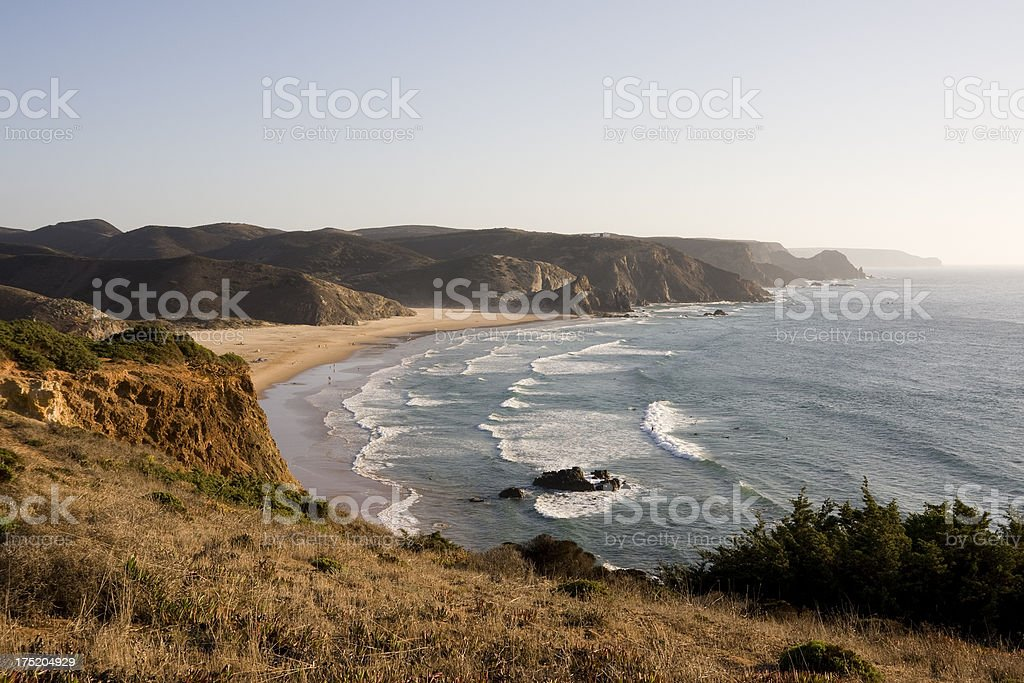 Amado beach on Portgual's sunny Algarve coast stock photo