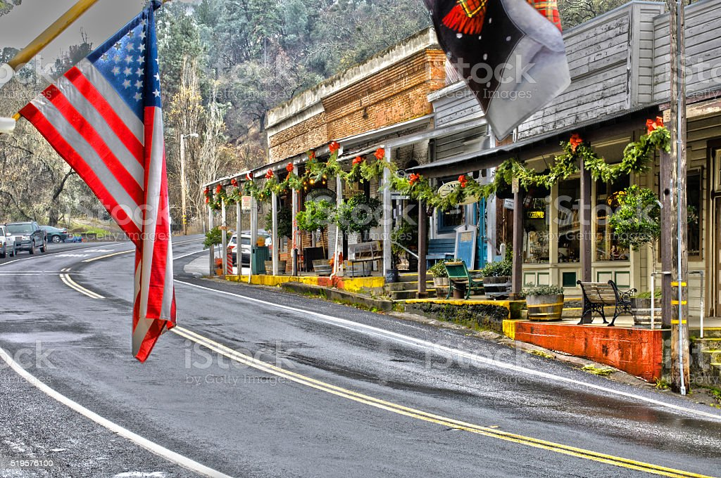Amador City, California at with Christmas Decorations (HDR) stock photo