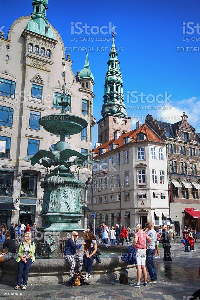 Amagertorv square in Copenhagen, Denmark stock photo