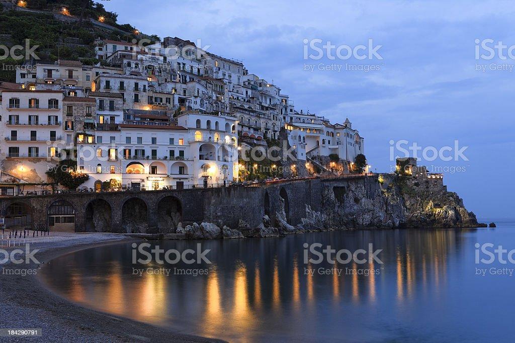 Amalfi and beach by night, Campania Italy stock photo