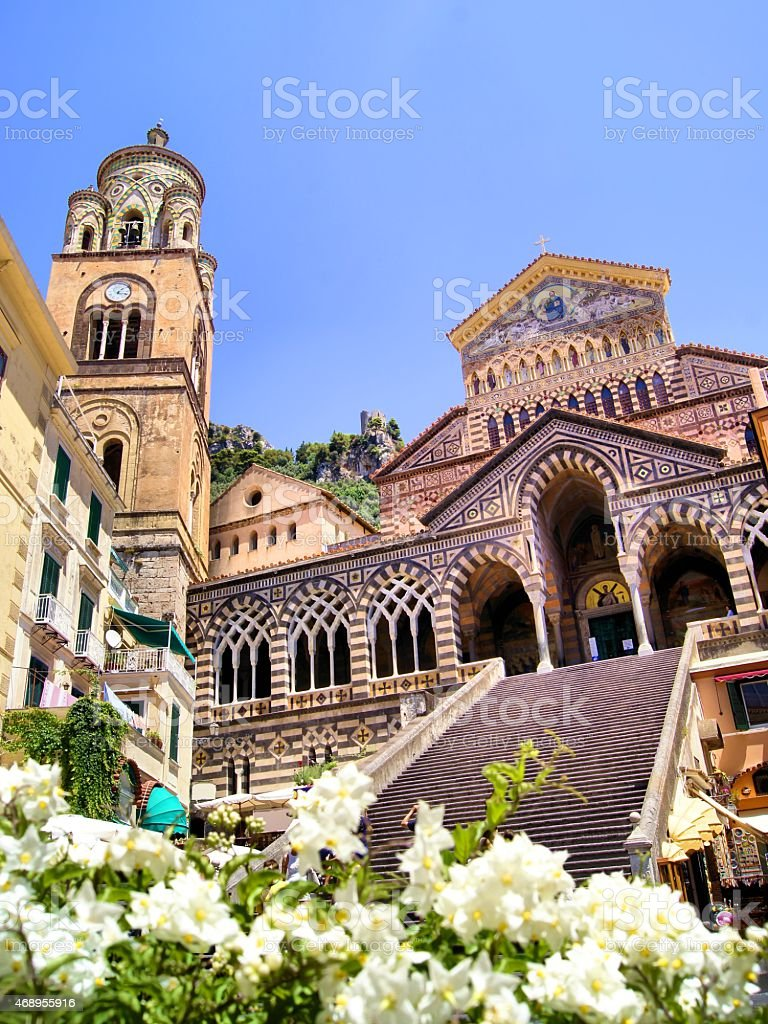 Amalfi Cathedral with flowers, Italy stock photo
