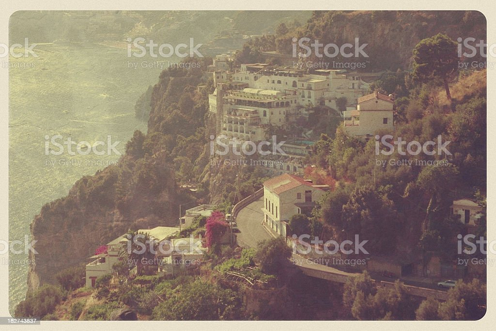 Amalfi Coast Cliffs - Vintage Postcard royalty-free stock photo