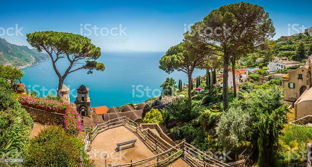 Amalfi Coast from Villa Rufolo gardens in Ravello, Campania, Italy stock photo
