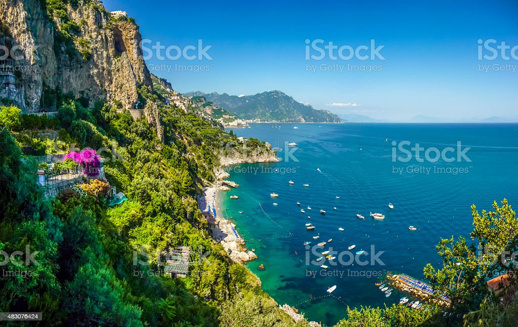 Amalfi Coast panorama, Campania, Italy stock photo