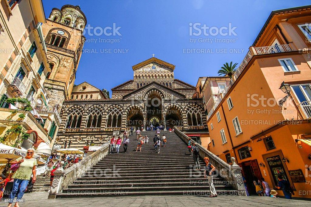 Amalfi, Italy - May 04, 2015 - Ornate Amalfi Cathedral stock photo
