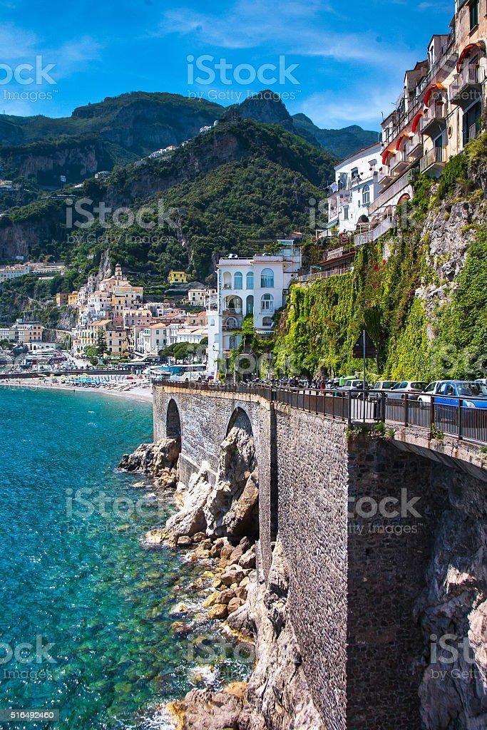 Amalfi old town landmark composition, Italy Positano,South Europe. stock photo