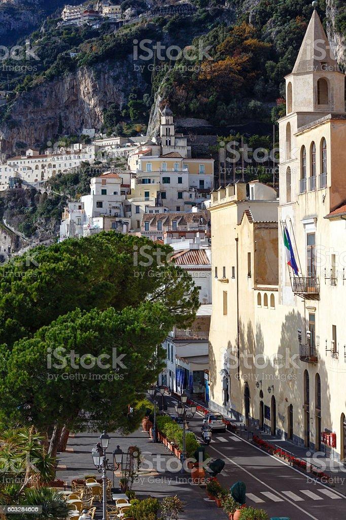 Amalfi town street, Italy. stock photo