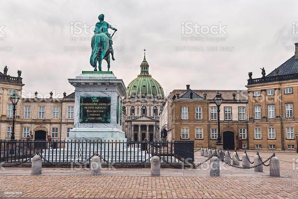 Amalienborg Palace and King Statue in Copenhagen stock photo