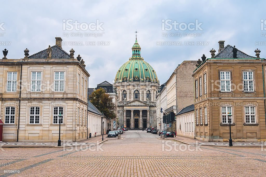Amalienborg Palace and Marble Church Dome in Copenhagen stock photo