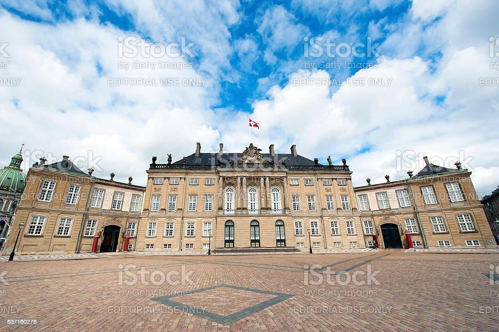 Amalienborg Palace facade, Copenhagen, Denmark stock photo