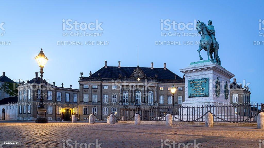 Amalienborg Palace in Copenhagen by night stock photo