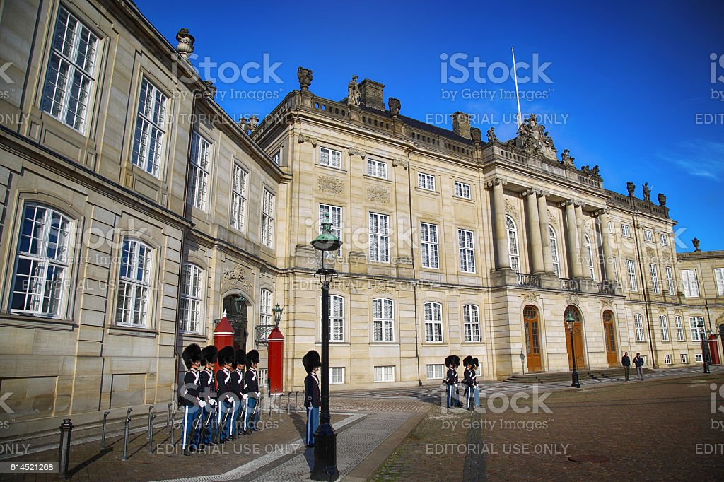 Amalienborg palace in Copenhagen, Denmark stock photo