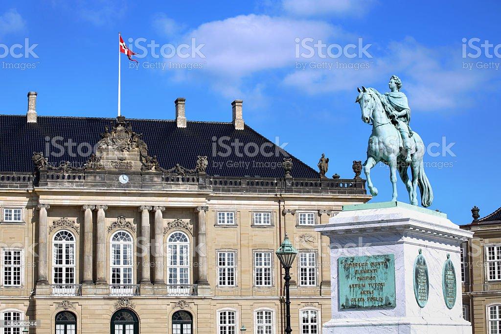 Amalienborg Square in Copenhagen, Denmark stock photo