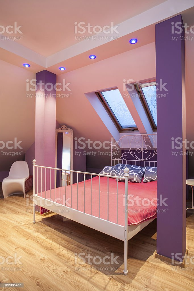 Amaranth house - Pink bedroom royalty-free stock photo