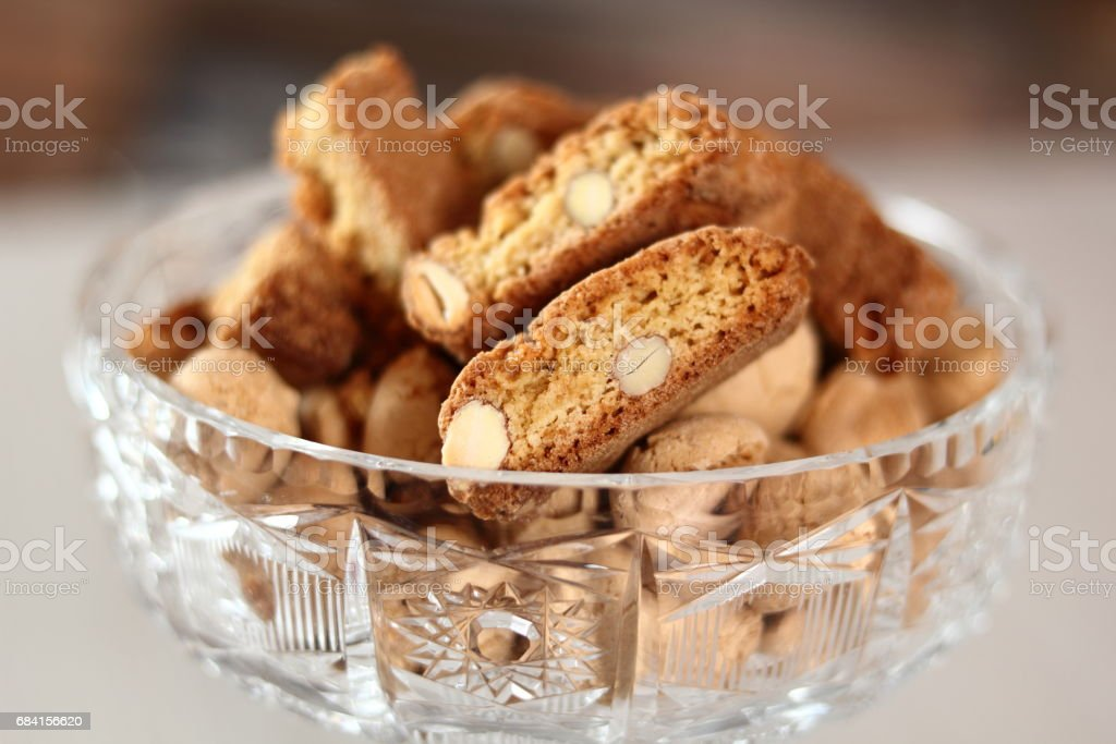 Amaretti biscuits and cantuccini stock photo