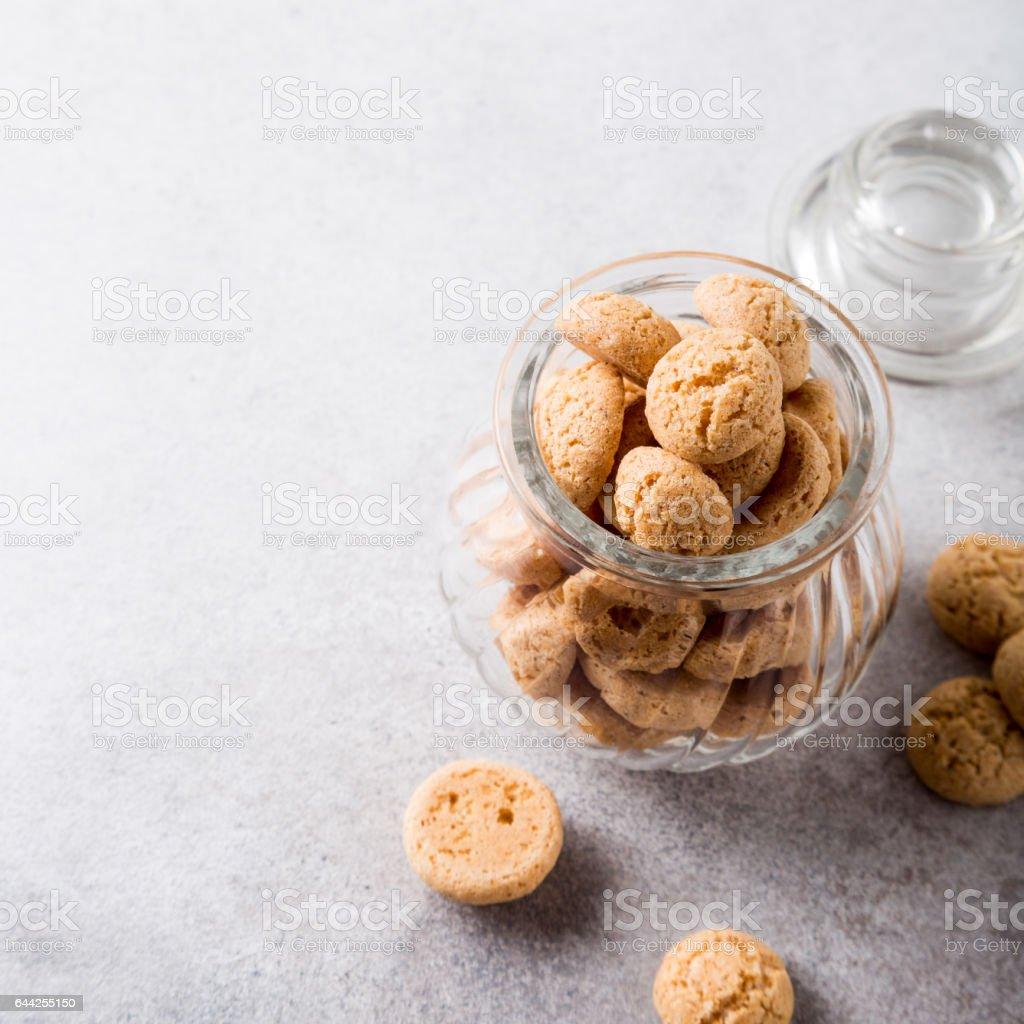 Amaretti cookies in glass pot stock photo