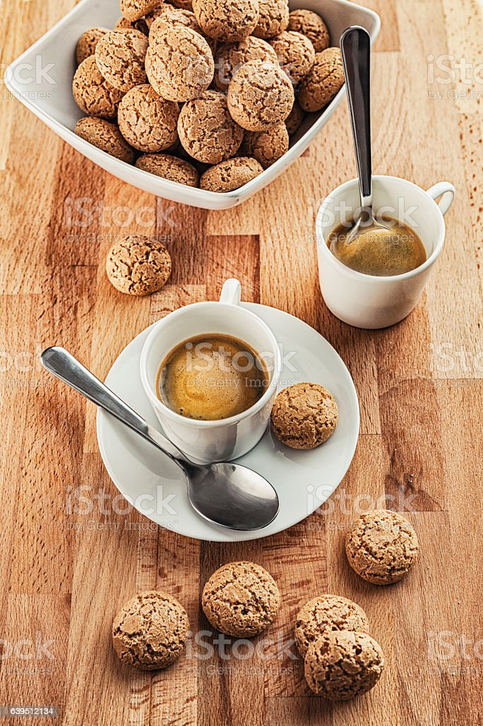 Amaretto Almond Cookies with coffee stock photo