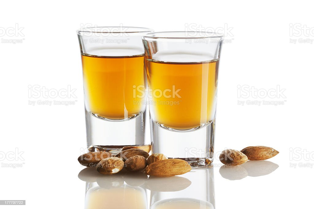 Amaretto and almonds isolated stock photo
