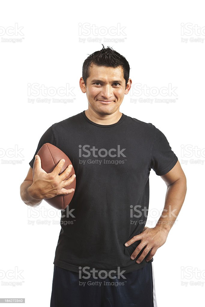Amateur Casual American Football Player with Ball on White Background royalty-free stock photo