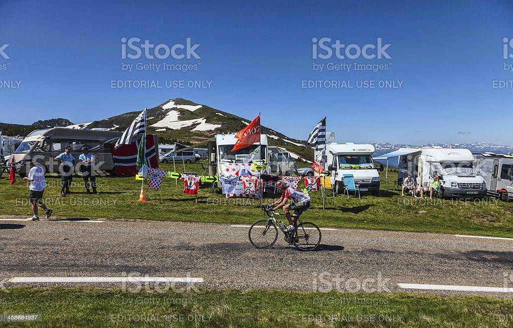 Amateur Cyclist on the Road of Le Tour de France royalty-free stock photo