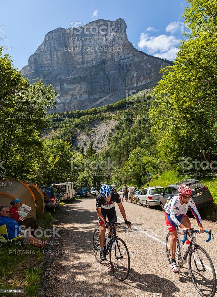 Amateur Cyclists Climbing Col du Granier royalty-free stock photo