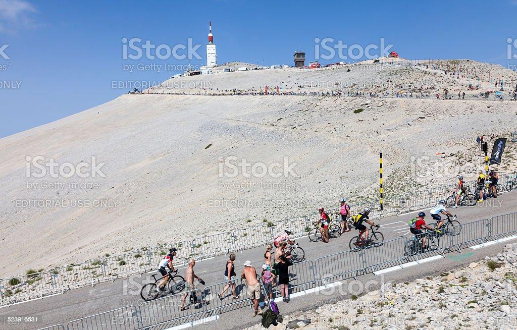 Amateur Cyclists on Mont Ventoux stock photo