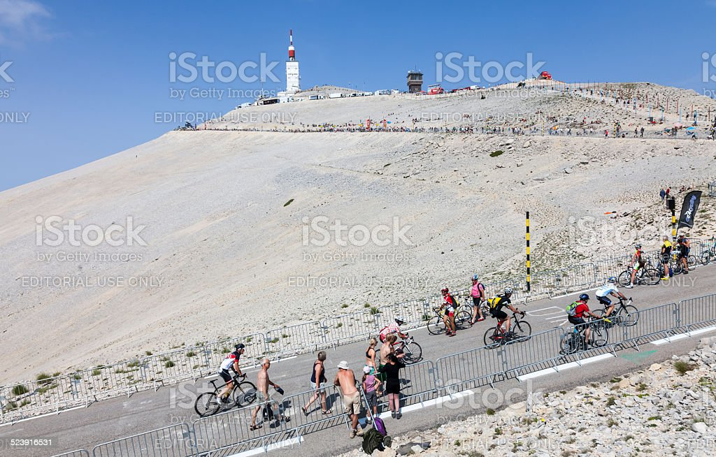 Amateur Cyclists on Mont Ventoux stock photo