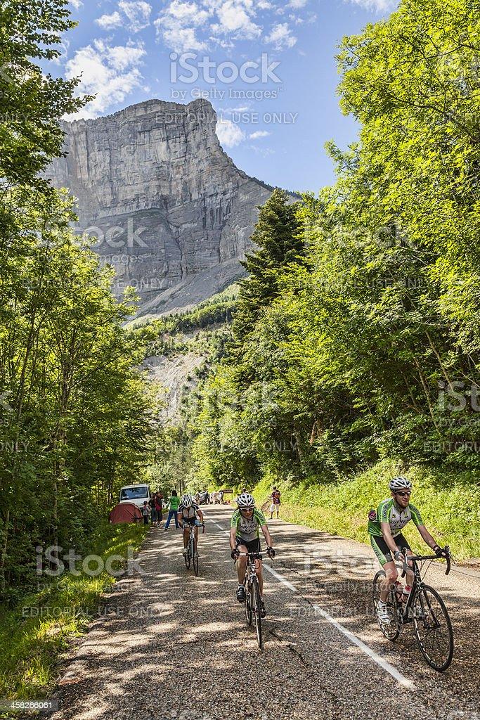 Amateur Cyslists Climbing Col du Granier royalty-free stock photo