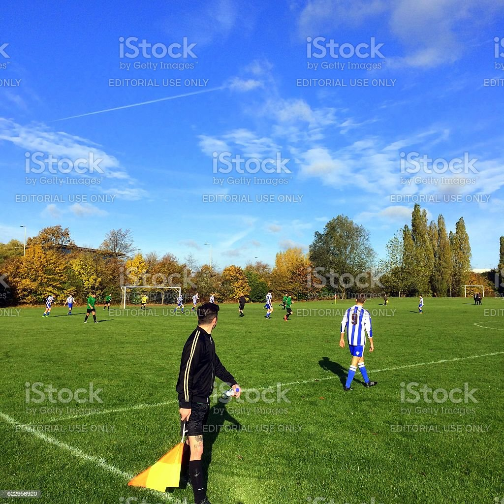Amateur Football Match stock photo