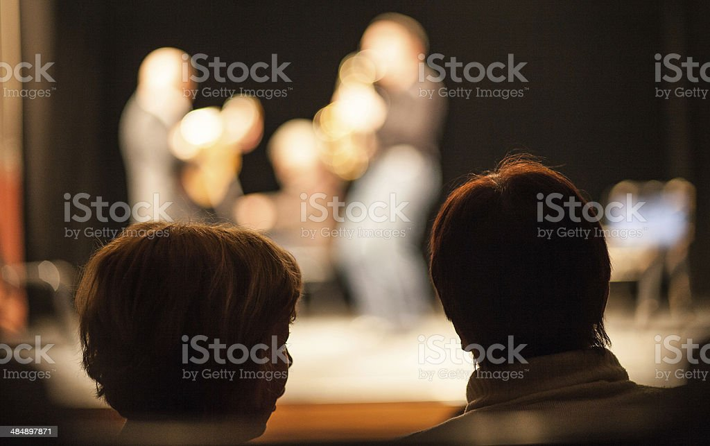 Amateur Jazz band performs on stage stock photo