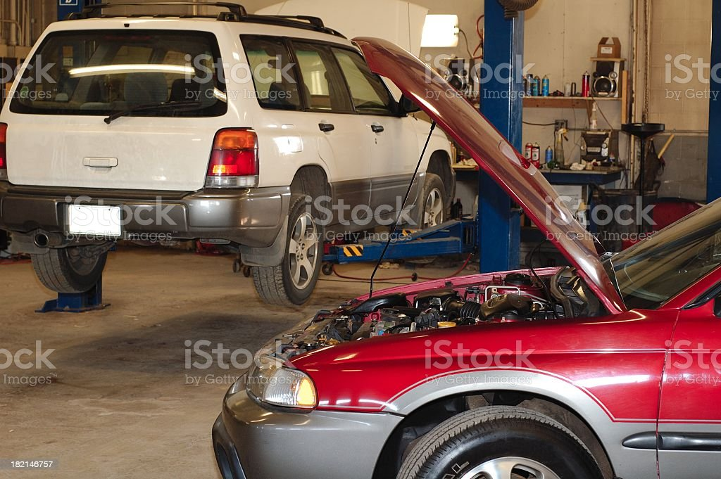 Amateur photo of auto repair garage royalty-free stock photo