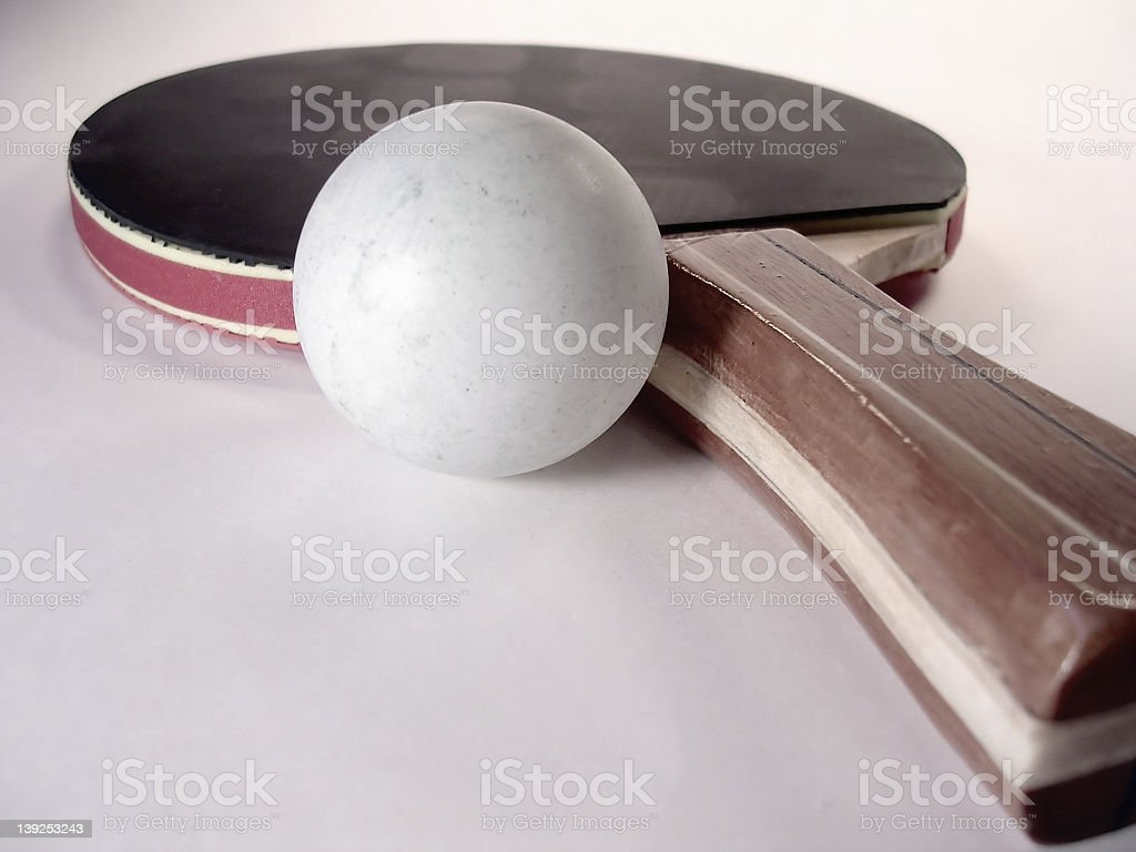 Amateur Ping Pong Paddle and Ball royalty-free stock photo