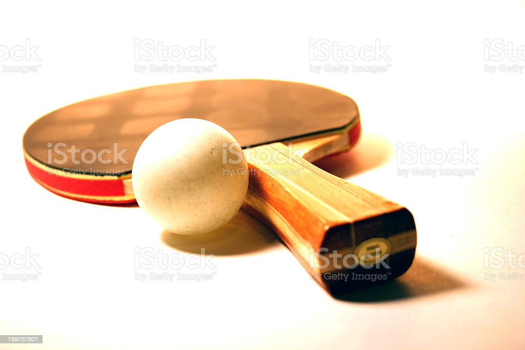Amateur Ping-Pong Paddle and Ball royalty-free stock photo