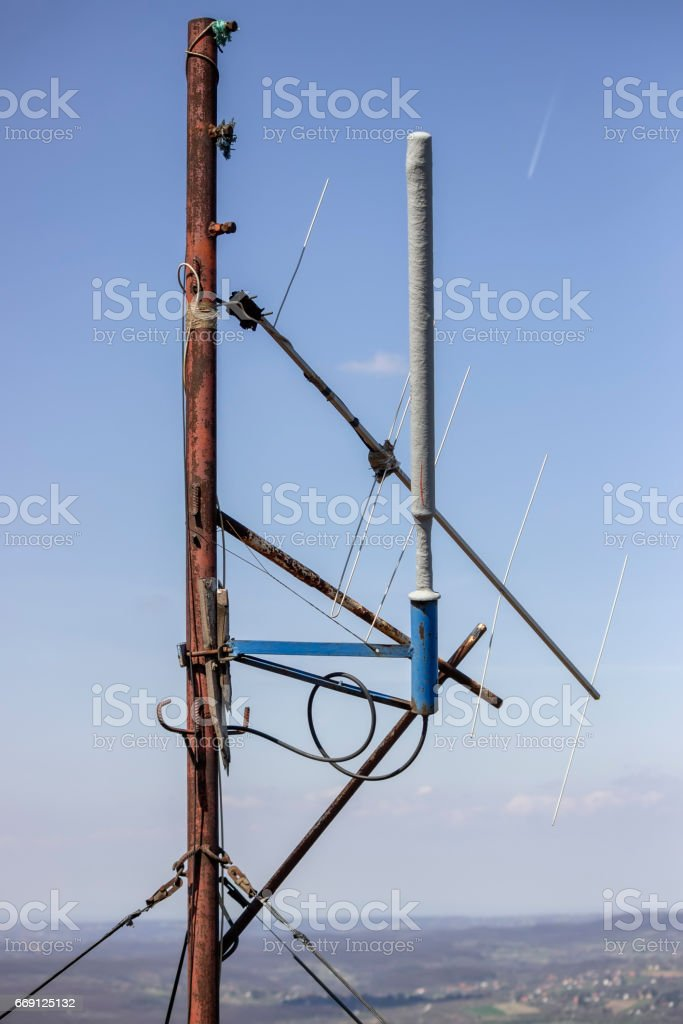 Amateur radio antenna stock photo