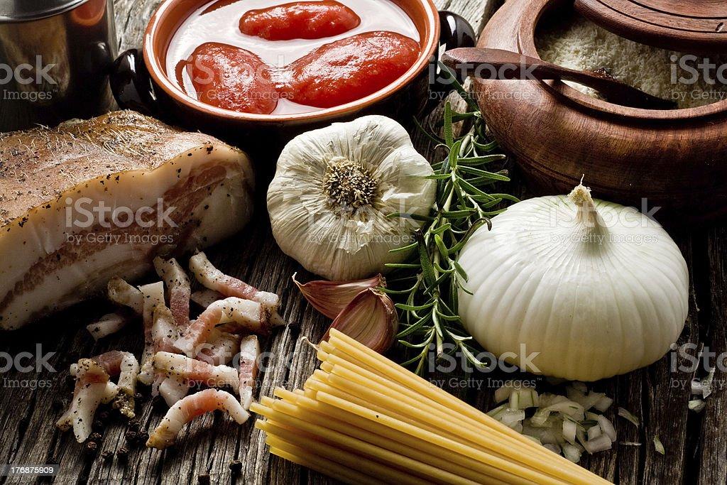 amatriciana ingredients stock photo