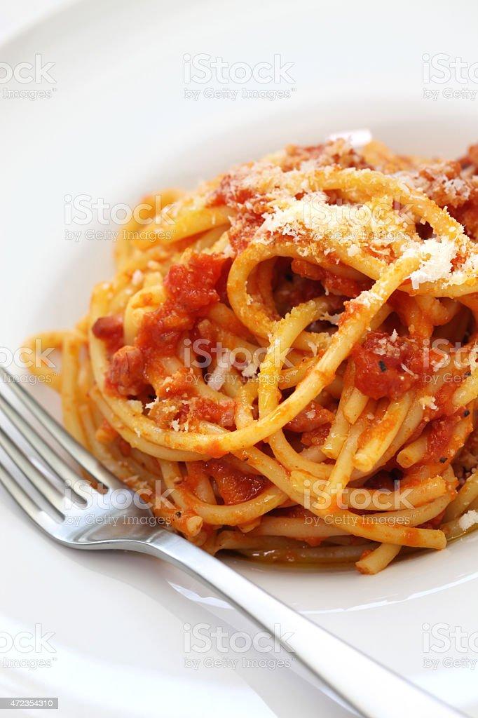 amatriciana, italian pasta cuisine stock photo