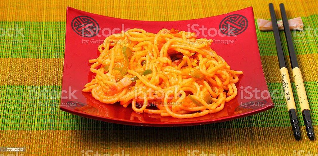 amatriciana spaghetti stock photo