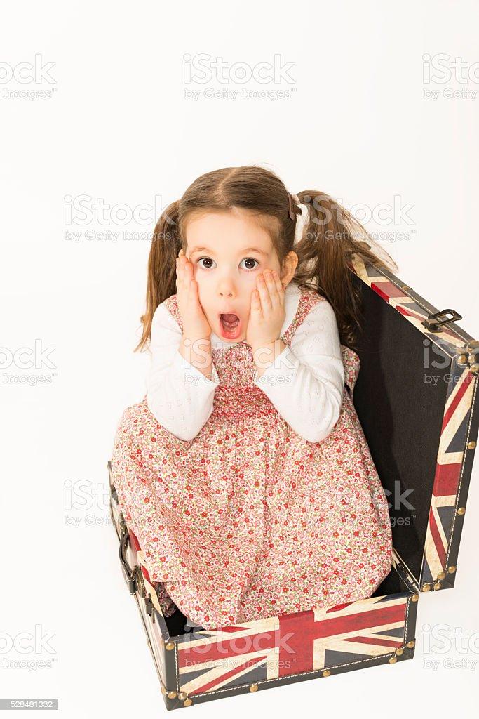 Amazed little girl closeup portrait stock photo