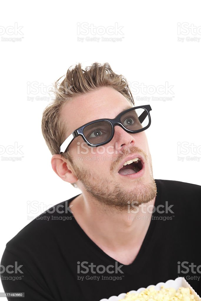 Amazed man in 3D-glasses royalty-free stock photo