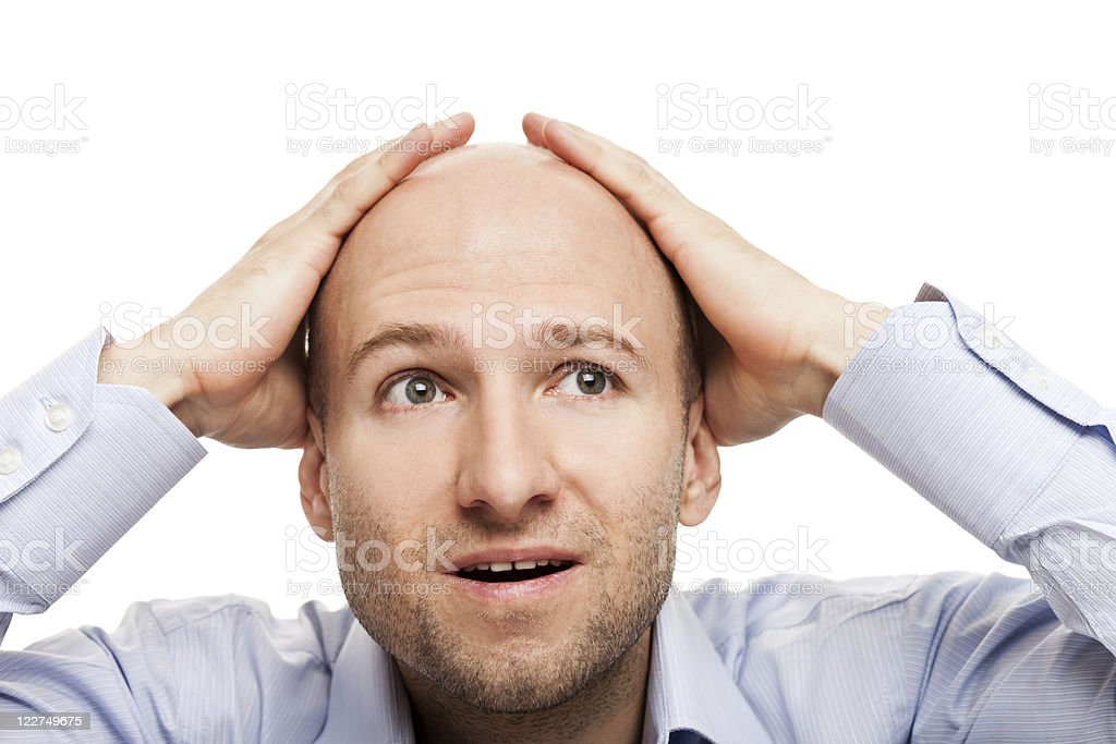 Amazed or surprised bald-headed man stock photo