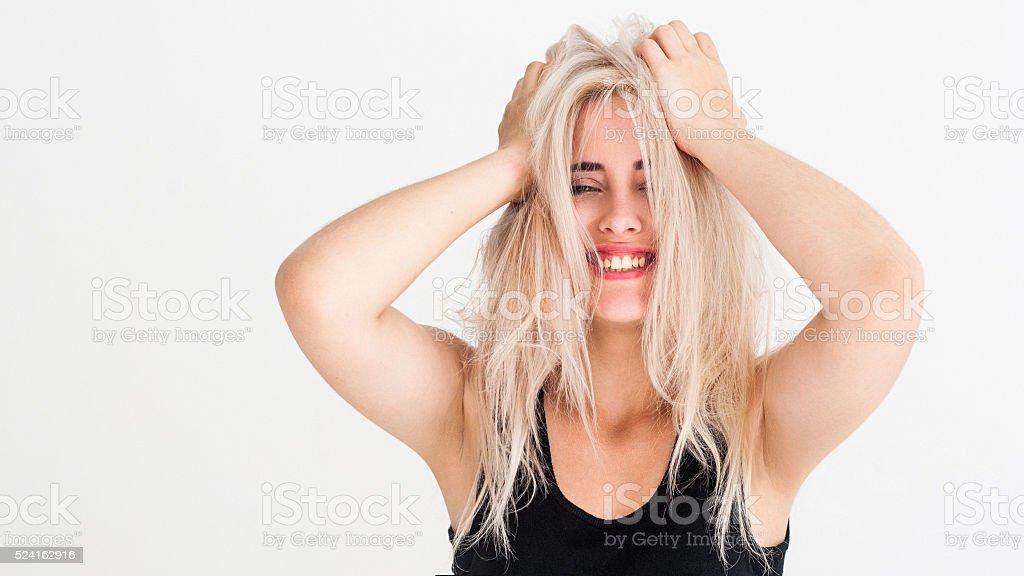 Amazement happy smiling  girl on white background stock photo